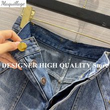 2021 New Summer Streetwear Blue Jeans Shorts High Waist Single Breasted Pockets Roll-up Hem Casual All Matched Shorts