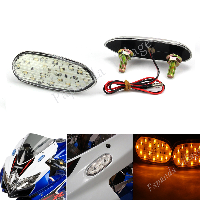 Motorbike Front <font><b>LED</b></font> Turn Signal Light Flash Mount Indicator Flasher for <font><b>Suzuki</b></font> <font><b>GSXR</b></font> GSX-R 600 <font><b>750</b></font> 1000 2006-2016 image