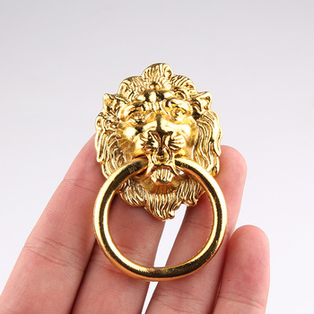 2pcs 67*46mm Wardrobe Cupboard Handle Kitchen Cabinet Knobs Retro Traditional Luxury Gold High-grade Lion Head Door Handle chinese antique copper small beast head knocker handle lion head handle door handle classical shop first