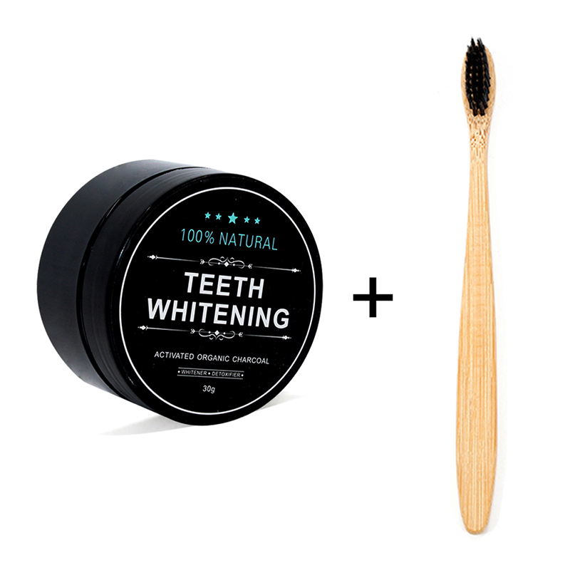 1 oz Activated Coconut Charcoal Powder Teeth Whitening Powder Bamboo Teeth Whitening Kit with Toothbrush for Oral Hygiene title=