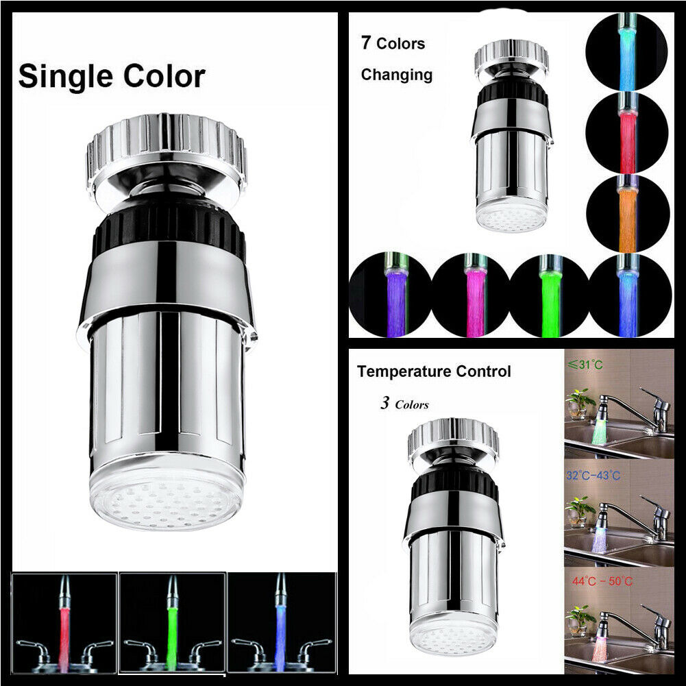 Kitchen Luminous Light-up LED Faucet Shower Tap Nozzle Water Temperature Control Sensor 3 Color 7 Colors