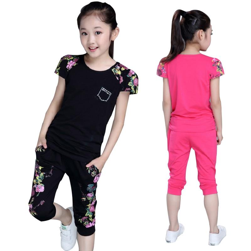 Children Clothing Sets Summer Girls Sports Suit Cotton Print Short Sleeve T-shirt+Pants 2Pcs Girls Clothes 4 6 8 10 12 14 Years