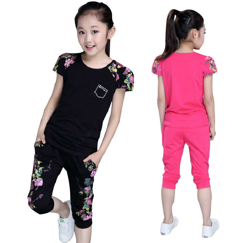 Kids Girls Cartoon Tracksuit Outfits Set Short Sleeve T-shirt+Jeans Age 6 8 10