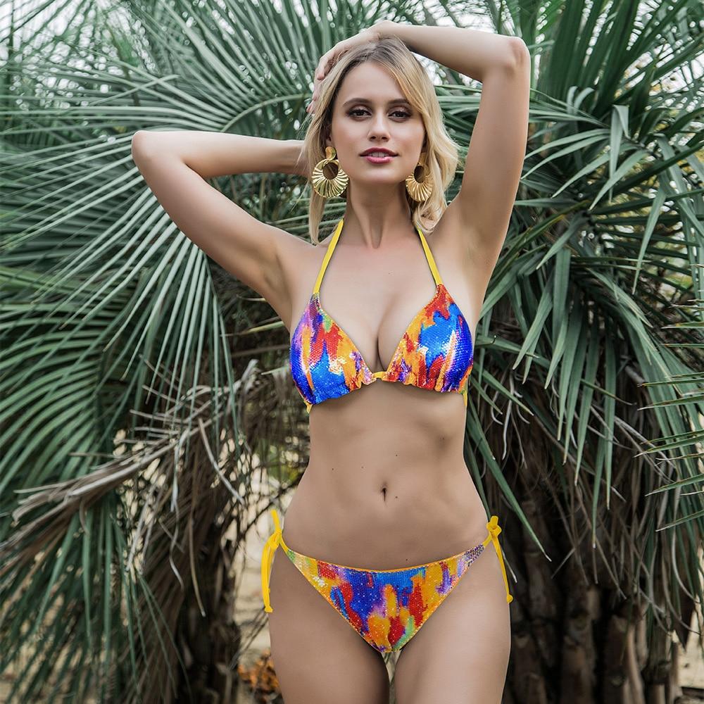 ENXANETA Solid Bikini Sexy Swimsuit Halter Swimwear Bathing Suit Women Bling Sequin Bikini Set Glitter Beach Wear Dropshipping