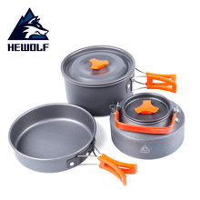 Camping Cookware Foldable Portable Picnic Aluminum Tableware 2-4 Persons Travel Outdoor Picnic Cooking Set BBQ Pot Pan Kettle(China)