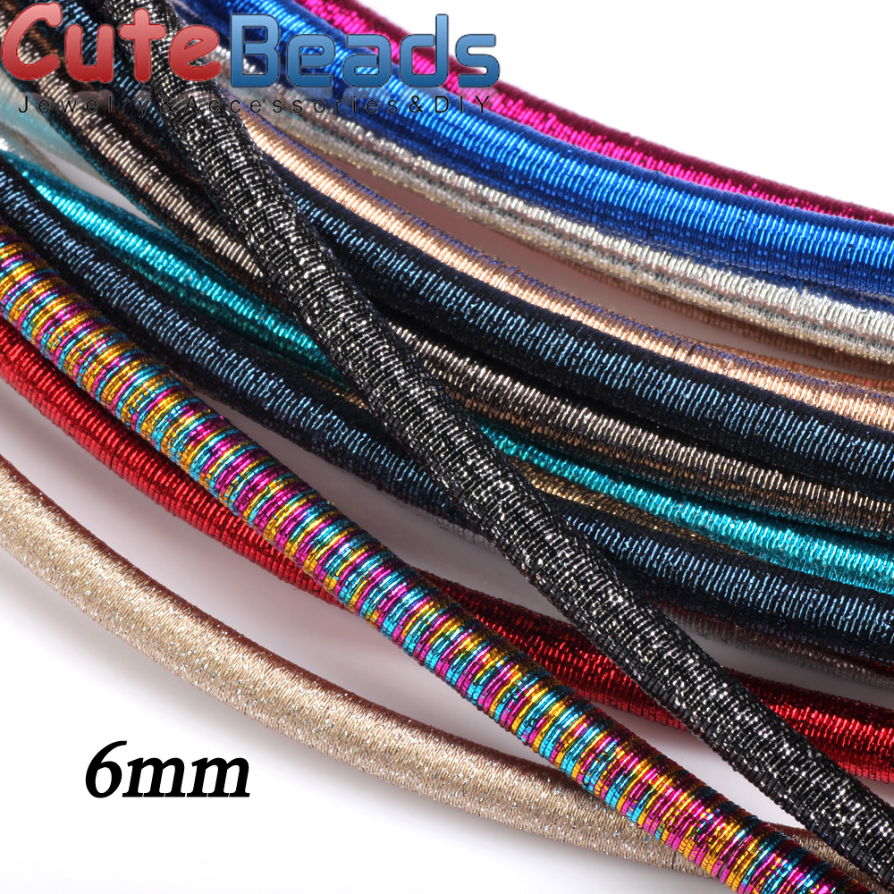 Free Shipping 6mm 46cm Rayon Silk Metal Color Cord  Hollow Rubber DIY Necklace Bracelet Jewelry Making Findings Olingart
