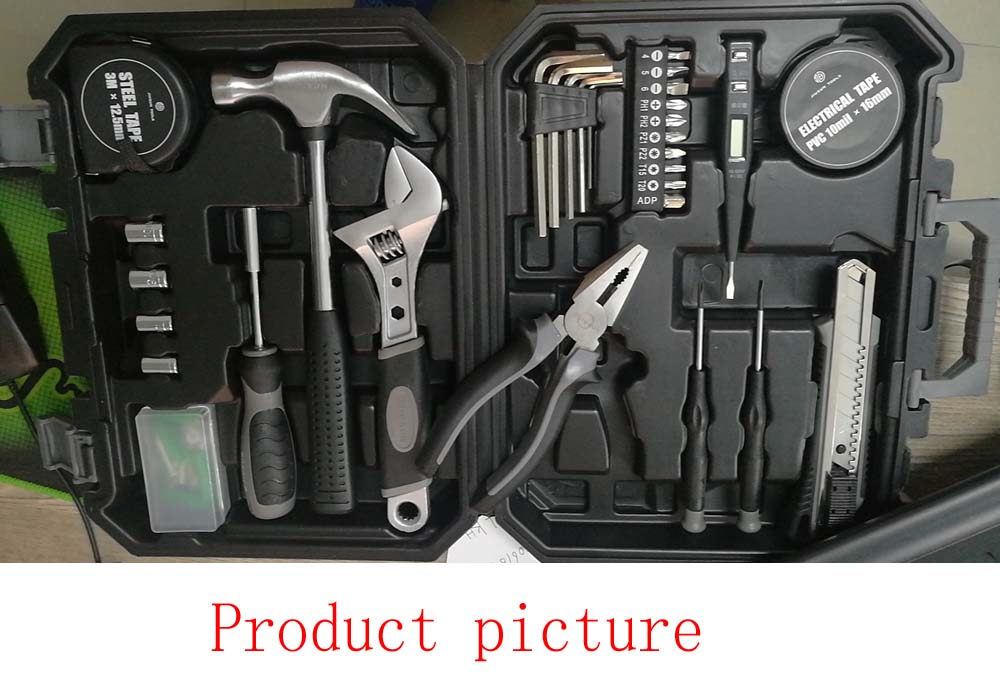 XIAOMI JIUXUN 12/60 pièces ensemble d'outils à main Kit d'outils à main de réparation de ménage général avec boîte à outils mallette de rangement clé marteau pince à ruban K - 6