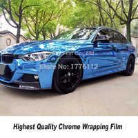 Dehnbar Blau Spiegel Chrom Vinyl Wrap Car Wrapping Film Chrome Gloss Blau Folie jede farbe Wahl größe 5ft X 59ft /rolle