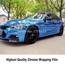 Highest quality light Blue Mirror Chrome Vinyl Wrap Car Wrapping Film Chrome Gloss Blue Foil 5ft X 59ft/Roll Multiple colors