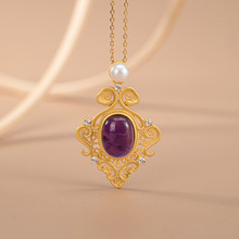 LATS Vintage 925 Sterling Silver Gold-plated Natural Amethyst Pearl Necklaces Classic Pendant Necklace for Women 2020 Jewelry kjjeaxcmy fine jewelry 925 sterling silver plated white gold ring pendant deep amethyst necklace set ladies two piece suit