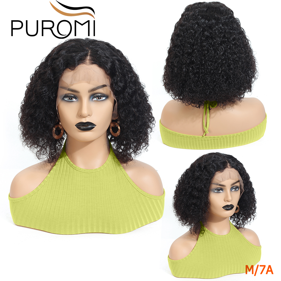 Puromi 13x4 Lace Wig Short Bob Lace Front Human Hair Wigs With Baby Hair 130% Remy Indian Jerry Curly Human Hair Wig For Women