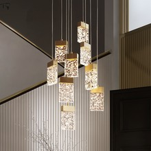 Nordic Novelty Luxury Lustre Crystal Ice Water Wave Glass Chandeliers Lighting Led Modern Creative Living Room Bedroom Stairs(China)