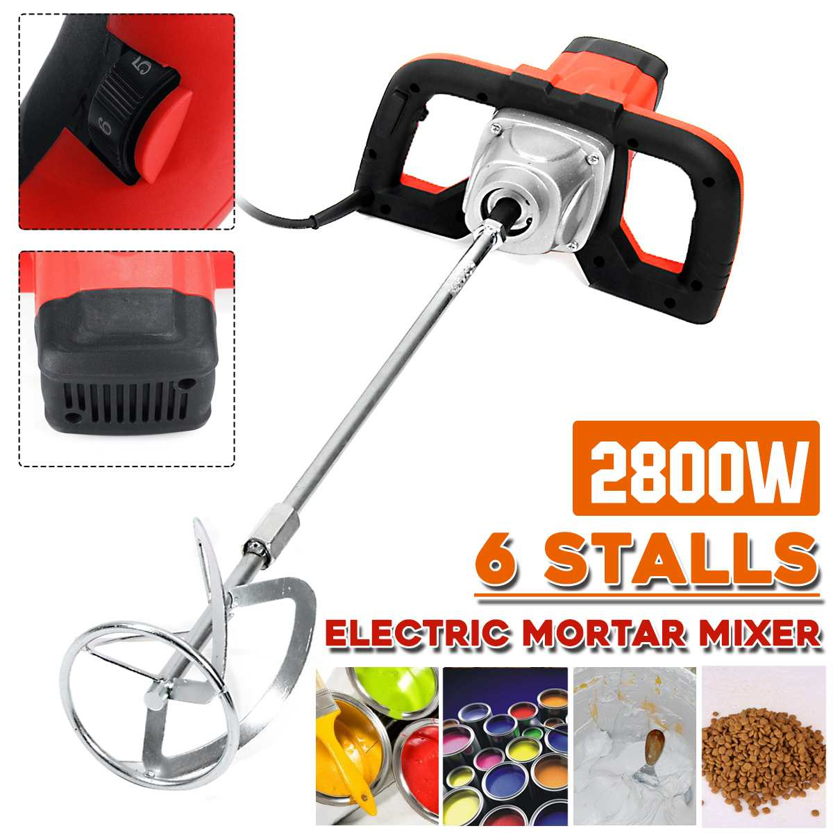 Doersupp 220V 2800W Dual High Low Gear 6 Speed Handheld Paint Cement Grout Electric Mortar Mixer Putty Powder Mixing Machine