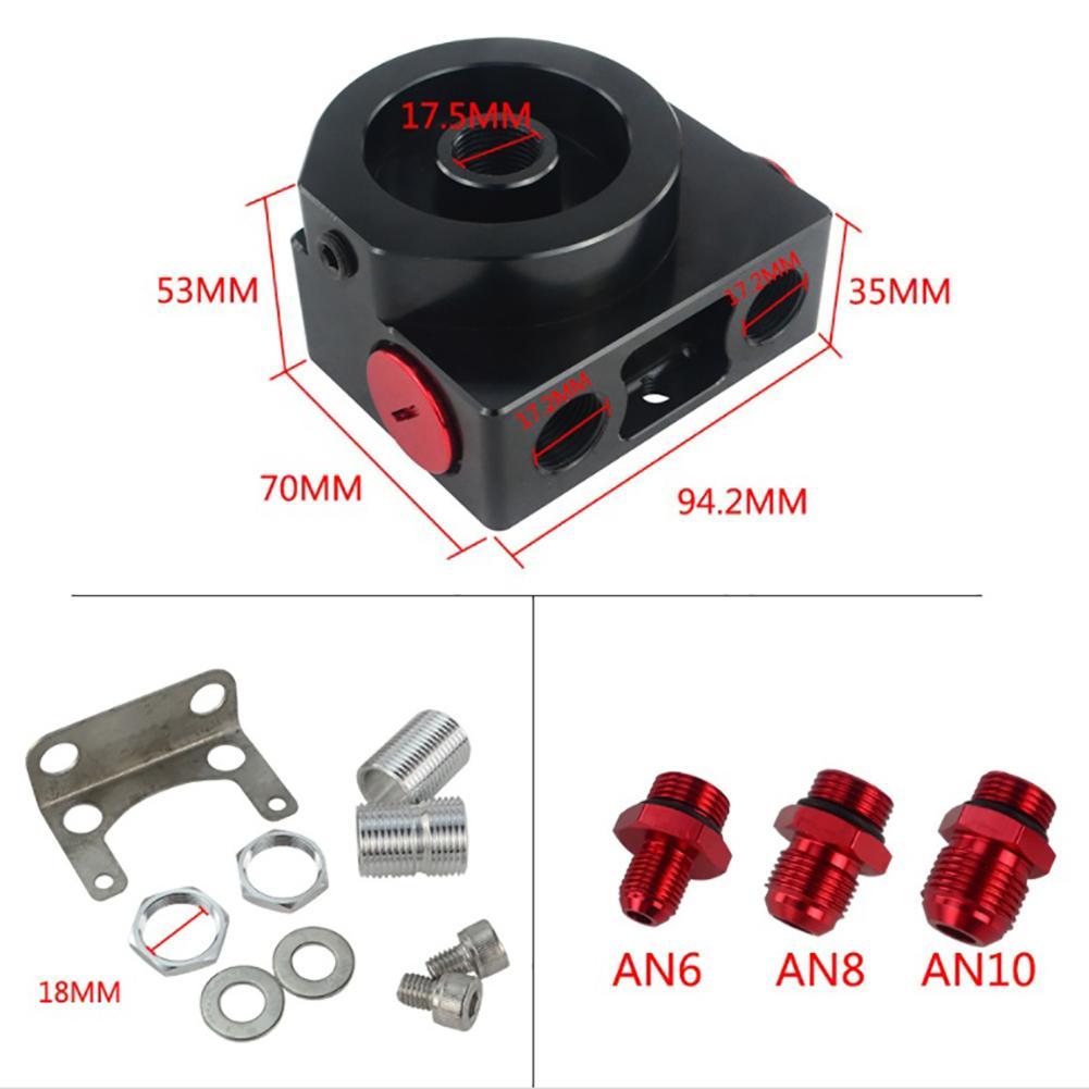 Adaptateur Sandwich pour filtre à huile de voiture avec filtre à huile bloc à distance avec Thermostat 1xAN8 4xAN6/AN8/AN10 JR5675 - 3