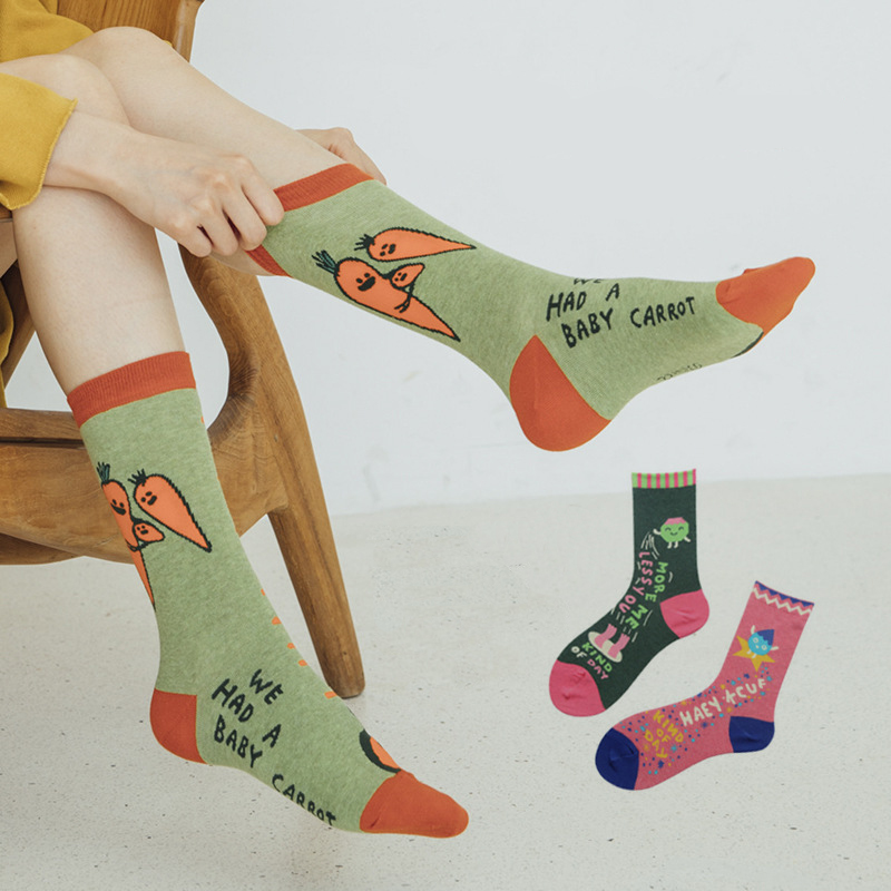 Women Fashion Socks Printing  Socks 2019 Autumn New Fashion Breathable Comfortable Wild Cute Cartoon Cute Happy Socks Women