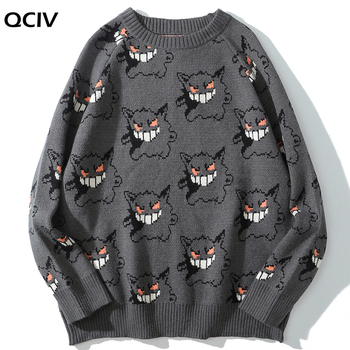 Sweater Men Harajuku Gengar Hip Hop Streetwear Clothing Spandex Pullover O-neck Oversize Fashion Casual Couple Male Sweaters