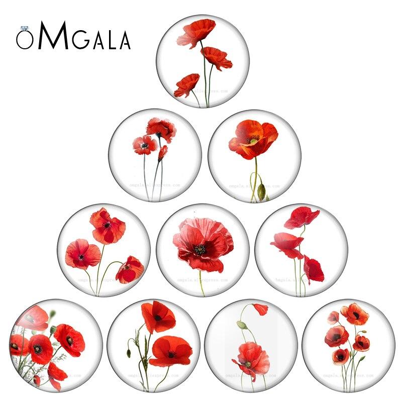 Красивые красные Акварельные Цветы 10 шт Смешанные 12 мм/18 мм/20 мм/25 мм круглые фото стеклянные кабошоны для демонстрации плоской задней части...