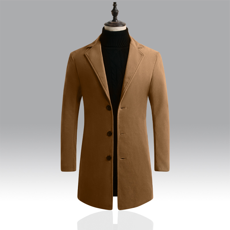 2019 New Mens Fashion Boutique Wool Pure Color Business Casual Woolen Dust Coats / Male Quality Slim Leisure Trench Coats