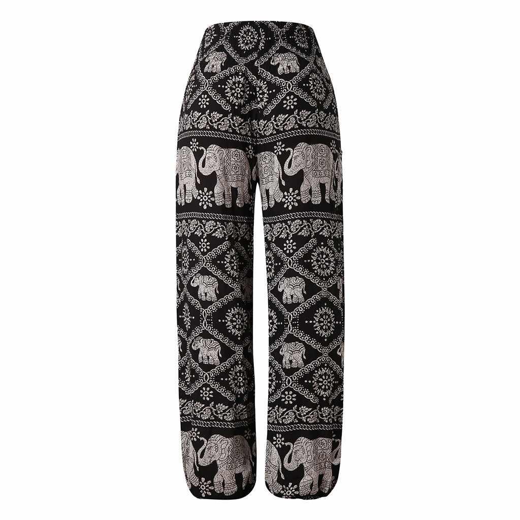 Sonbahar YENI Moda Droppship Pantolon kadın Bohemian Boho Spor Hippi Rahat Pantolon Önlük Yüksek Bel Pantolon Freeship брюки