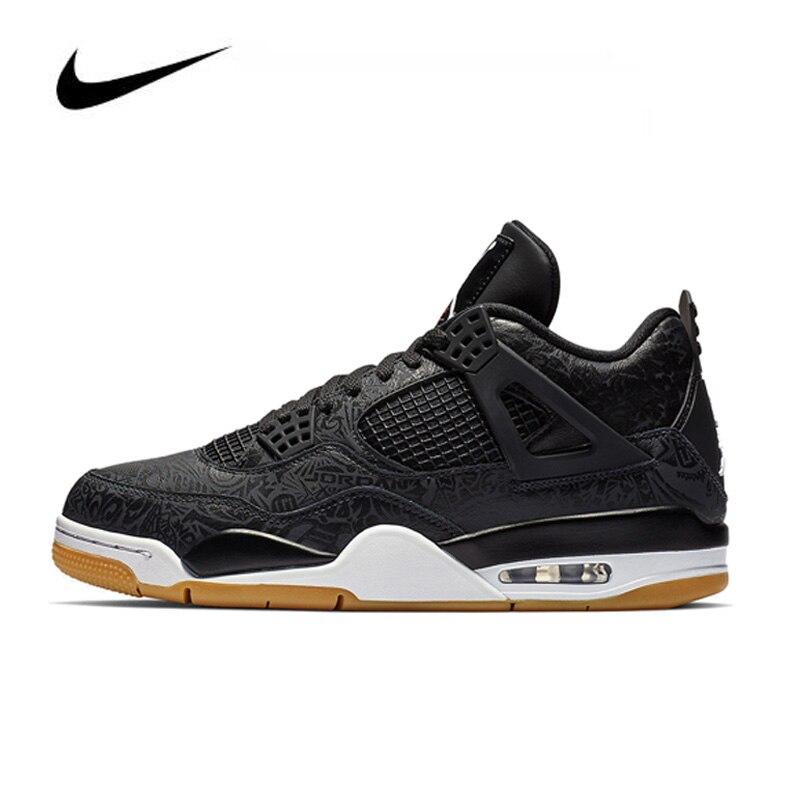 Nike Air Jordan 4 Black Laser Men's Basketball Shoes Original High Top Jordan Sneakers Basketball Shoes Men Unisex Women
