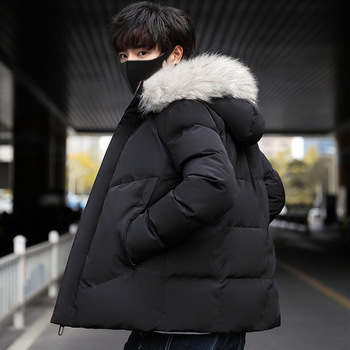 New Warm Mens Cotton-padded Coat Black Gray Hooded With Faux Fur Collar Plus Size XXXXL Male Outwear U56
