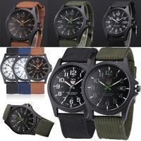 Outdoor Herren Quarz Armbanduhren Runde Edelstahl Militär Sport Uhr Männer Nylon Gürtel Armbanduhr 2021 Montre Homme # S3