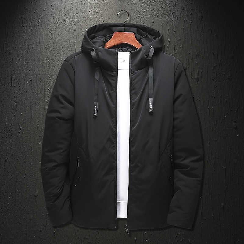 Pria Musim Dingin Puffer Jaket Pakaian 2020 Cotton Hood Lebar Pinggang Zipper Kanvas Panjang Slim Fit Jaket Utilitas Semi