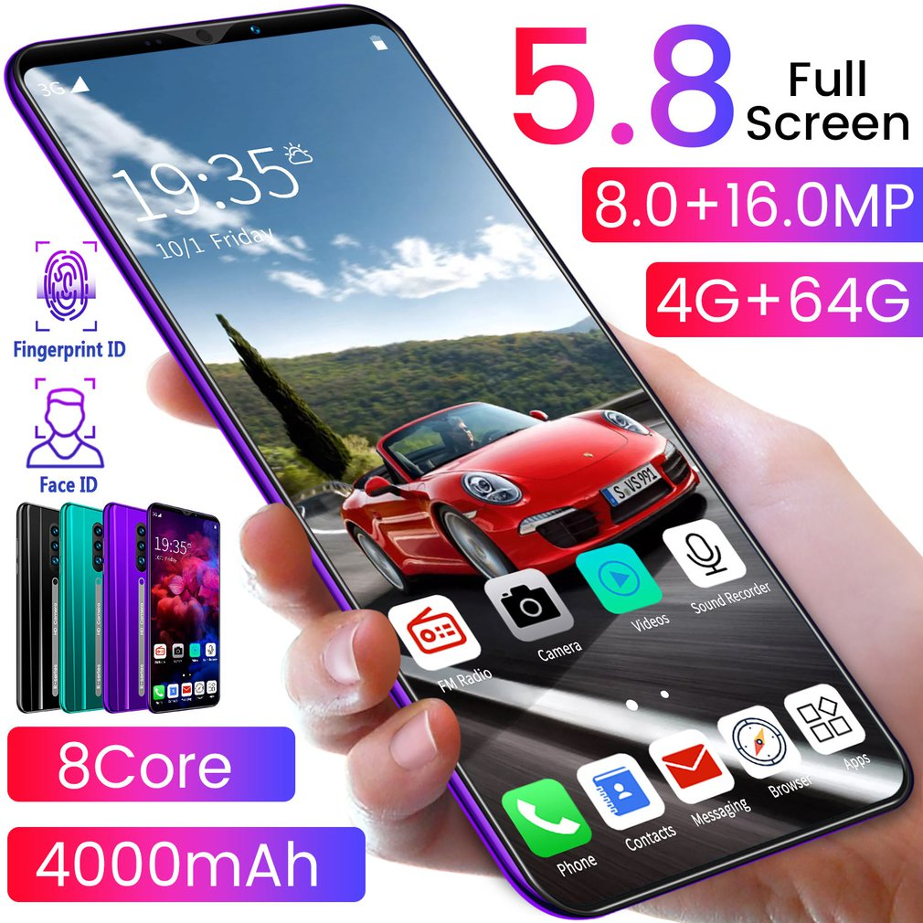 Rino3 Pro 5.8 Inch Screen Android Phone Purple Water Drop Screen Smartphone Solid Color Mobile Phone