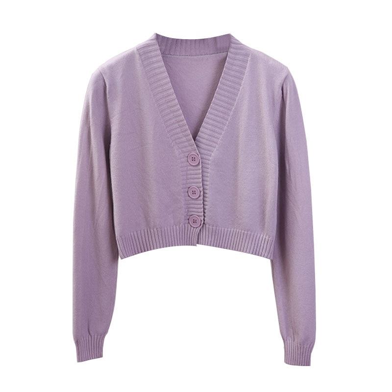 Женский укороченный кардиган, женский черно-белый короткий свитер с V-образным вырезом, однобортный свитер, Женский вязаный кардиган GD153