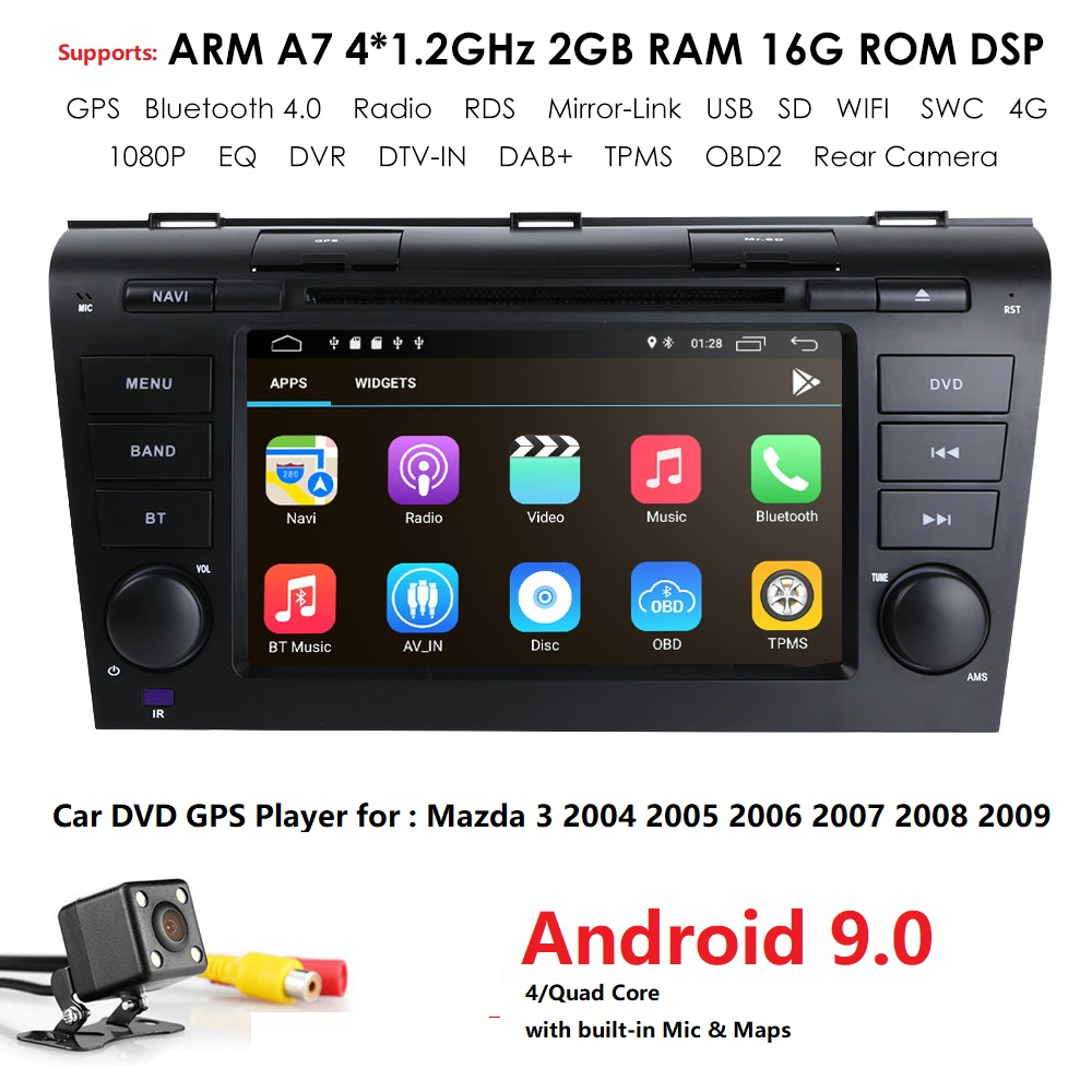4G Modem Android 9.0 Car DVD For <font><b>Mazda</b></font> <font><b>3</b></font> 2004-2009 4G SIM Car Multimedia <font><b>Mazda</b></font> <font><b>3</b></font> Bluetooth 4.0 WIFI Option TPMS Steering Wheel image