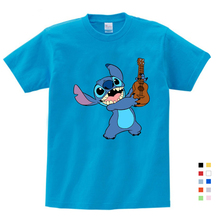 цена на 2019 Boys and Girls Cartoon Stitch and Lilo Print T Shirt Kids Funny Clothes Baby Summer White T-shirt 3-12 Years T-shirt Boys