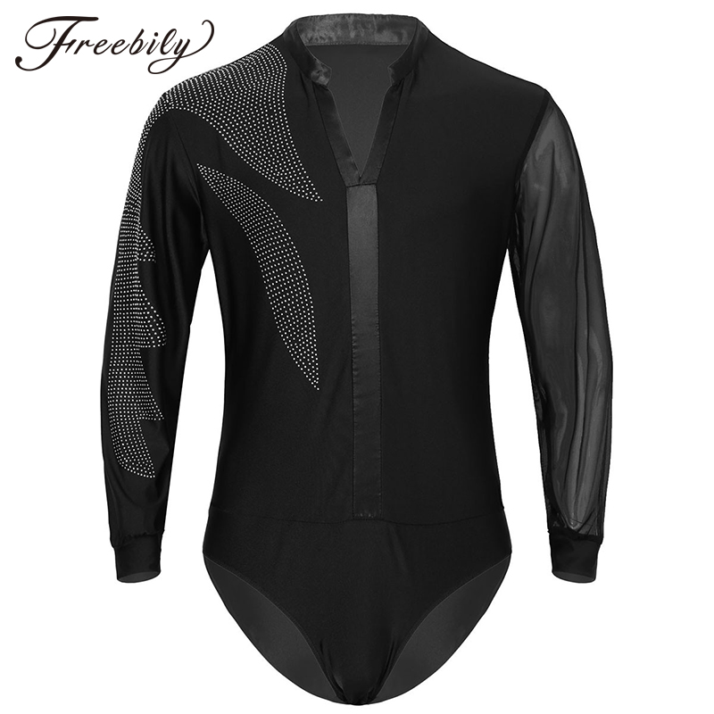Latin Dance Shirts Mens Shiny Rhinestones Long Sleeve Ballroom Dancing Wear Adult Standard Tops Performance Competition Clothing