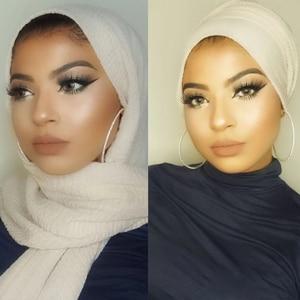 Image 3 - Wholesale price New Fashion Muslim crinkle hijab scarf femme musulman soft cotton headscarf islamic hijabs shawls and wraps