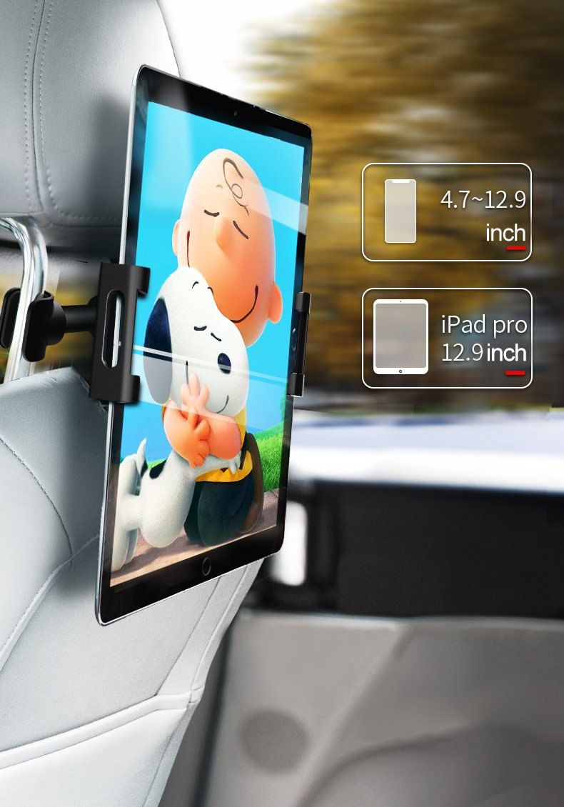 Youbina Car Tablet Headrest Mount Holder  Back Seat Stand Cradle Compatible With 4.7~13 Inch Smartphones And Tablets