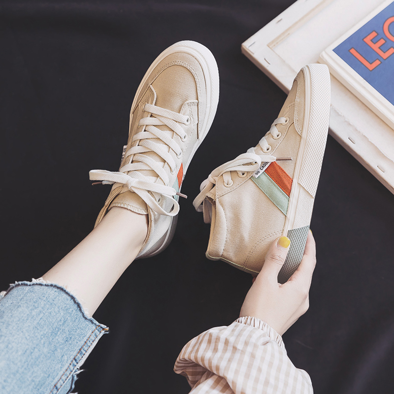 High Top Canvas Shoes Women Casual Shoes Flat Heel Lace Up 2020 Spring New Girl Sneakers Fashion Chic Mixed Color Nice Quality