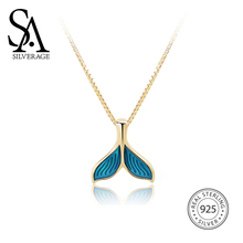 SA SILVERAGE Necklace Original Design Mermaids Silver 18K Gold Female 925 Sterling Chain 2019