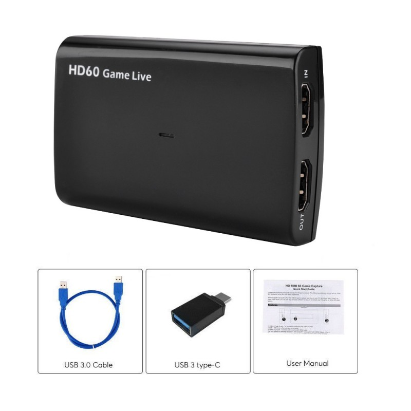 HDMI Video//Game Capture Recorder Full HD1080P//60fps Live Streaming Device HD60