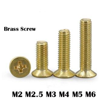 M2 M2.5 M3 M4 M5 M6 Phillips Brass Flat Head Machine Screw Metric Thread Copper Cross Countersunk Metal Standard Bolt Hardware m2 m2 5 m3 m4 m5 m6 white nylon pan head phillips machine screw metric thread plastic round bolt assortment kit set