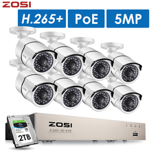 ZOSI H.265+ 8CH 5MP POE Security Camera System Kit 8 x 5MP Super HD IP Camera Outdoor Waterproof CCTV Video Surveillance NVR Set