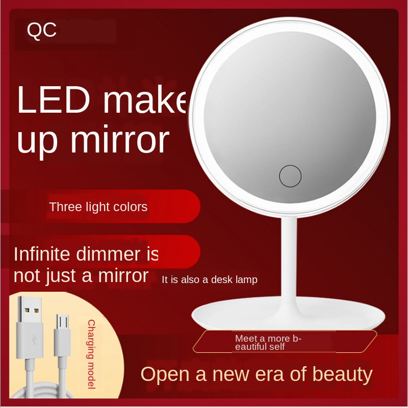 LED Make-up Mirror Makeup Mirror Light Included Desktop Chargeable Dressing Mirror GIRL'S Online Celebrity Portable Mirror Lamp