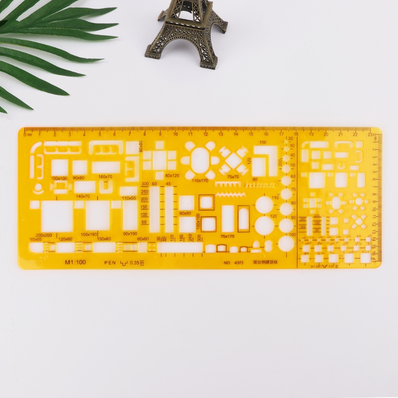 Professional Architectural Template Ruler Drawings Stencil Measuring Tool Supply For Architecture Supplies