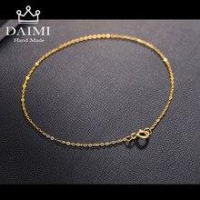 DAIMI 18k браслет из чистого золота для женщин, желтая девушка, настоящая твердая 750 женский браслет высокого качества,, вечерние модные гирлянда