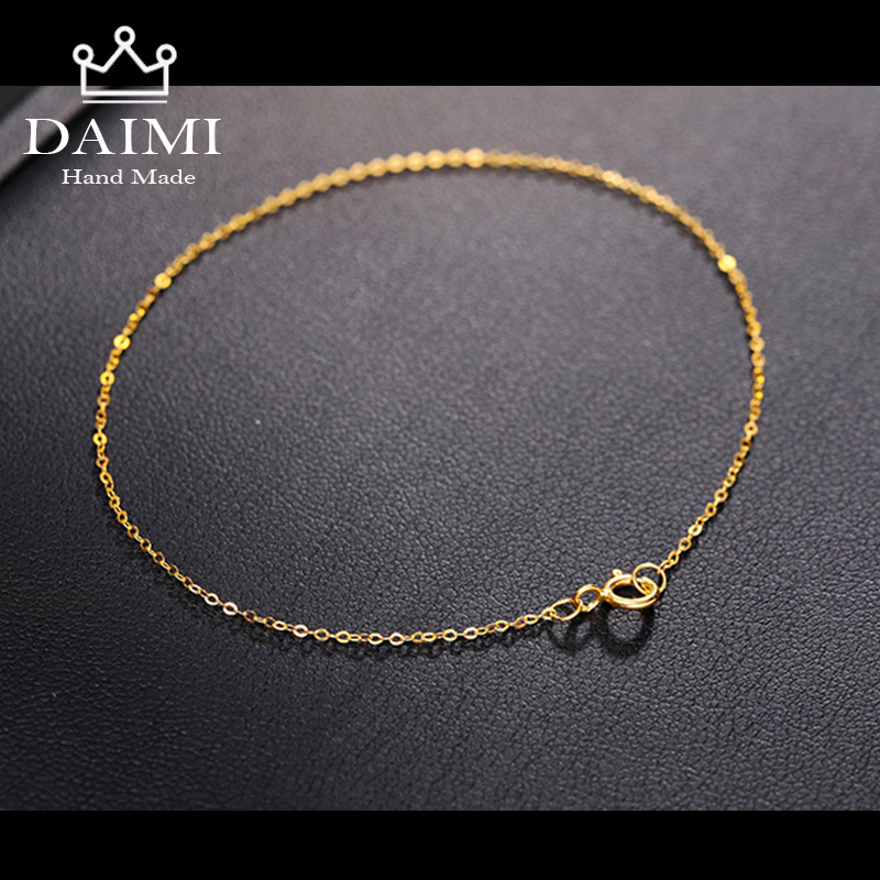 DAIMI 18k Pure Gold Women Bracelet Yellow Girl Genuine Real Solid 750 Female Bangle Upscale Hot Sale Party Trendy Light Chain