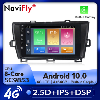 NaviFly Android 10.0 IPS Screen CAR Radio GPS For Toyota Prius 2009-2013 Audio Player Navigation Stereo Multimedia Head Unit image