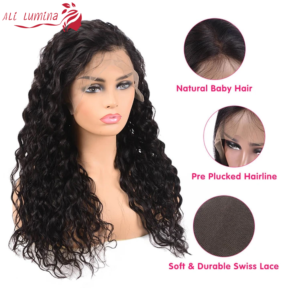 13x4 Lace Front  Wigs  Water Wave Lace Wigs Pre Plucked 4x4 Lace Closure Wigs With Baby Hair Curly Wigs 3