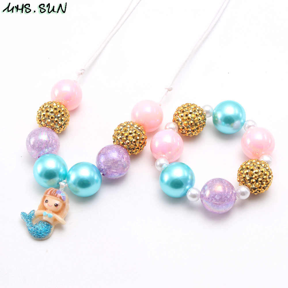 MHS.SUN Cute Mermaid Pendant Kids Girls Beads Necklace Bracelet Child Baby Adjustable Rope Necklace Chunky Jewelrt Set For Gift