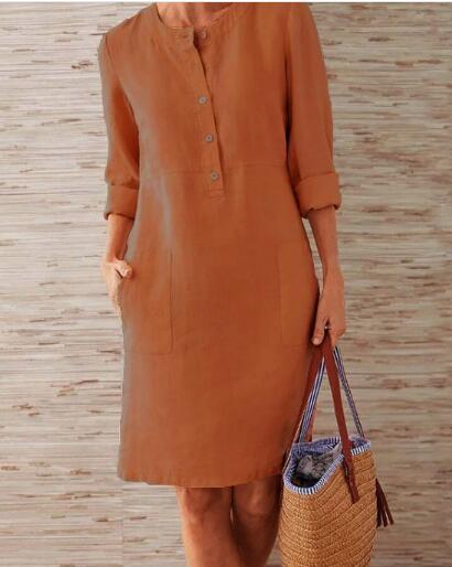 1 piece Cotton Linen three quarter sleeve female straight Midi Single Breasted Comfortable dresses for women платье летнее 3
