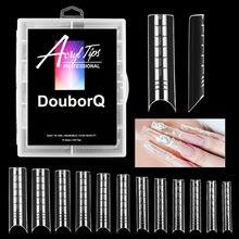 Dual System Nagel Form 120PCS Klar Verlängerung Gel Werkzeuge Mold Tipps Lange Volle Abdeckung mit Box (nicht nagel Tipps)