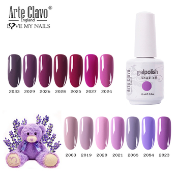 Arte Clavo Gel Nail Art Polish UV LED Purple Series 131 Colors Semi Permanent Hybrid Nail Polish Soak Off Gel Lacquer Nail Gel 30pcs pure colors uv gel soak off led gel lacquer uv nail set gel nail polish set