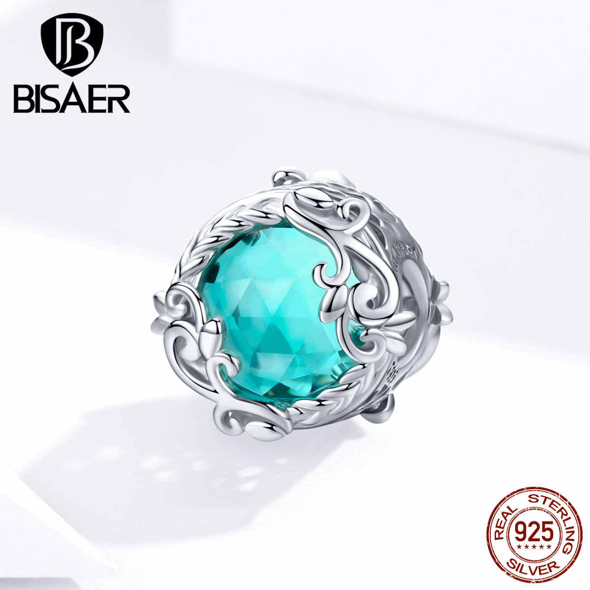 Crystal Beads BISAER 100% 925 Sterling Silver Green Zircon Beads Charms fit Charms Bracelets Silver 925 Original Jewelry EFC105